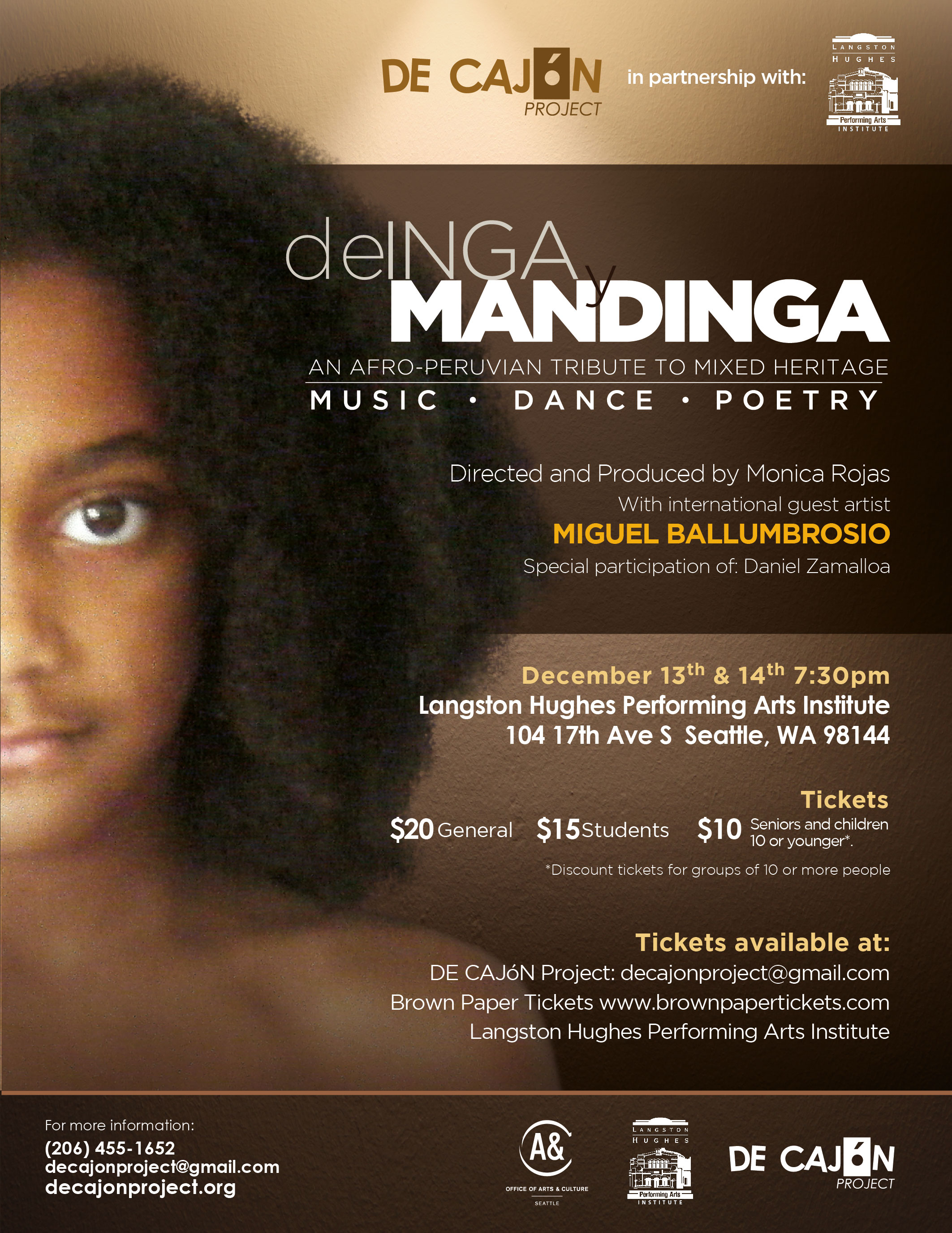 DE INGA Y MANDINGA: An Afro-Peruvian Tribute to Mixed Heritage @ Langston Hughes Performing Arts Institute | Seattle | Washington | United States